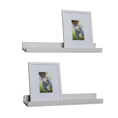 4 Piece Ledge Floating Shelf & Picture Frame Set Finish: White