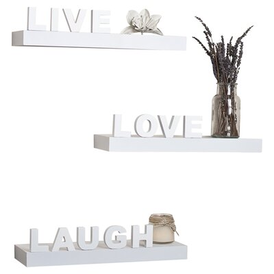 "Danya B Decorative ""Live"" ""Love"" ""Laugh"" Wall Shelves (Set of 3) - Finish: White at Sears.com"