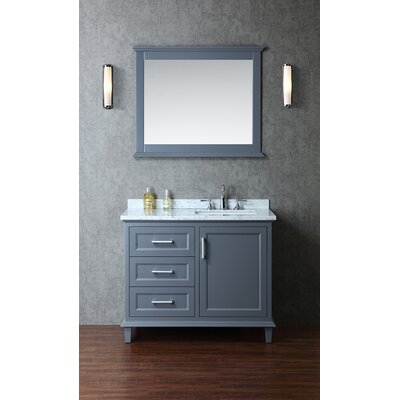 Sunderland 42 Single Bathroom Vanity Set with Mirror Finish: Whale Grey