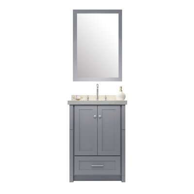 Adams 25 Single Sink Vanity Set with Mirror Base Finish: Grey
