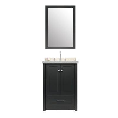 Adams 25 Single Sink Vanity Set with Mirror Base Finish: Black