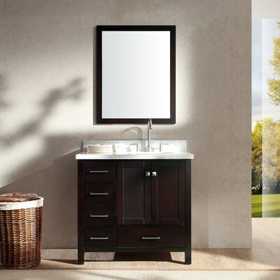 Marine Modern 37 Single Bathroom Vanity Set with Mirror Base Finish: Espresso