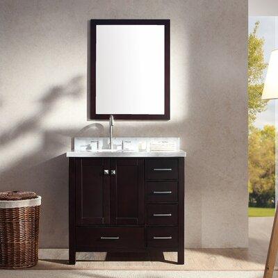 Marine 37 Single Bathroom Vanity Set with Mirror Base Finish: Espresso