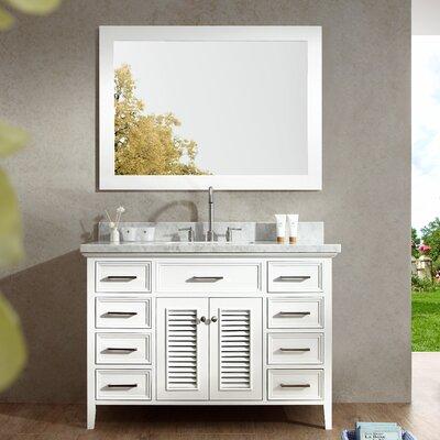 Brewster 49 Single Bathroom Vanity Set with Mirror Base Finish: White