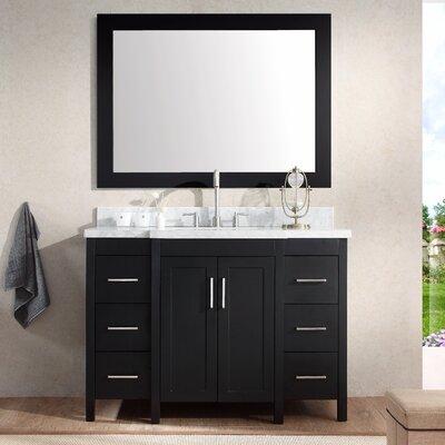 Hollandale 49 Single Sink Vanity Set with Mirror Base Finish: Black