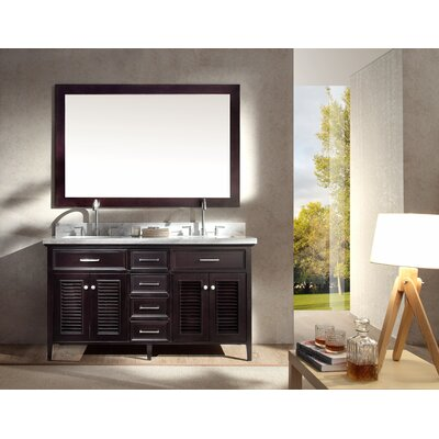 Brewster 61 Double Bathroom Vanity Set with Mirror Base Finish: Espresso