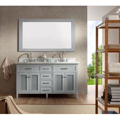 Brewster 61 Double Bathroom Vanity Set with Mirror Base Finish: Grey