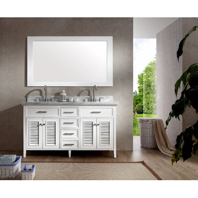 Brewster 61 Double Bathroom Vanity Set with Mirror Base Finish: White