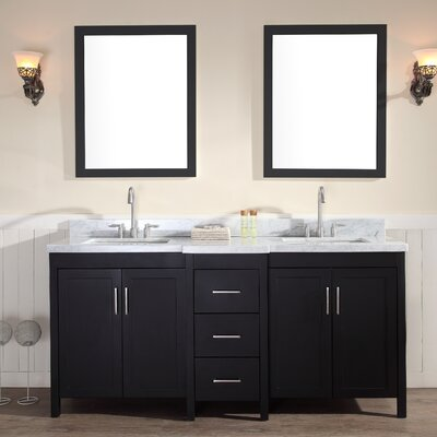 Hollandale 73 Double Sink Vanity Set with Mirrors Base Finish: Black