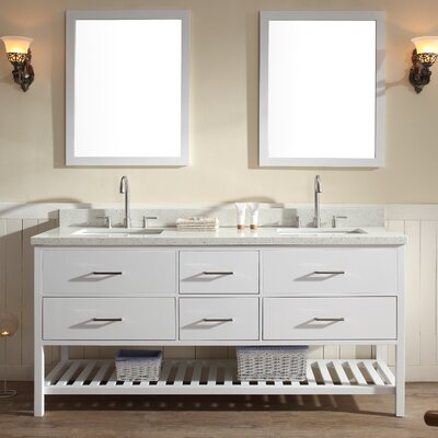 Felman 73 Double Bathroom Vanity Set Top Finish: White