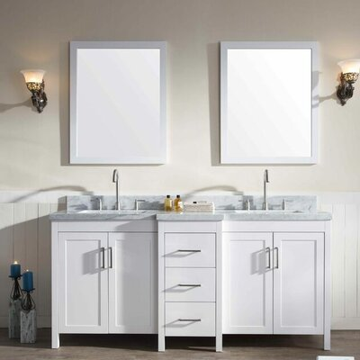 Hollandale 73 Double Sink Vanity Set with Mirrors Base Finish: White
