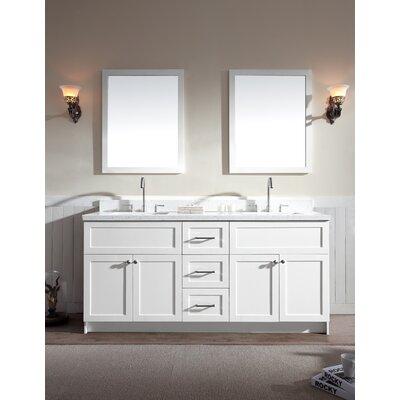 Hamlet 73 Double Bathroom Vanity Set Top Finish: White Quartz, Base Finish: White