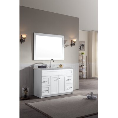 Hamlet 49 Single Bathroom Vanity Set Top Finish: White Quartz, Base Finish: White