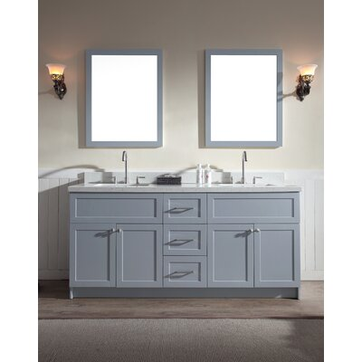Hamlet 73 Double Bathroom Vanity Set Top Finish: White Quartz, Base Finish: Grey