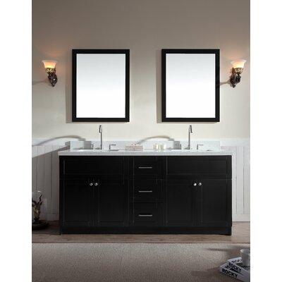 Hamlet 73 Double Bathroom Vanity Set Top Finish: White Quartz, Base Finish: Black