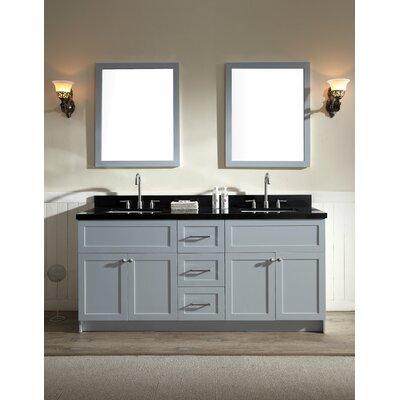 Hamlet 73 Double Bathroom Vanity Set Top Finish: Absolute Black, Base Finish: Grey