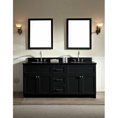 Hamlet 73 Double Bathroom Vanity Set Top Finish: Absolute Black, Base Finish: Black