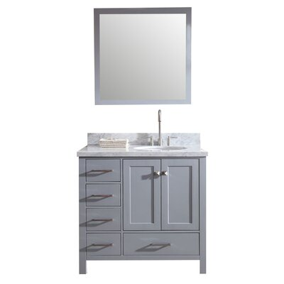 Marine Modern 37 Single Bathroom Vanity Set with Mirror Base Finish: Gray