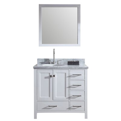 Marine 37 Single Bathroom Vanity Set with Mirror Base Finish: White