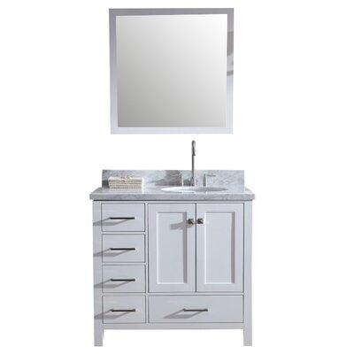 Marine Modern 37 Single Bathroom Vanity Set with Mirror Base Finish: White