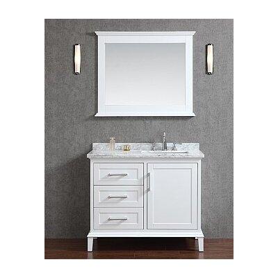 Sunderland 42 Single Bathroom Vanity Set with Mirror Finish: Alpine White