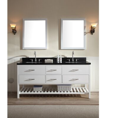 Felman 73 Double Bathroom Vanity Set Top Finish: Black