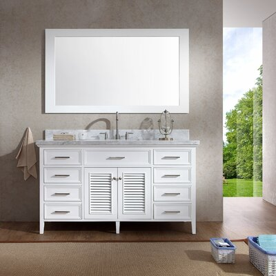 Brewster 61 Single Bathroom Vanity Set with Mirror Base Finish: White