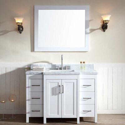 Hollandale 49 Single Sink Vanity Set with Mirror Base Finish: White
