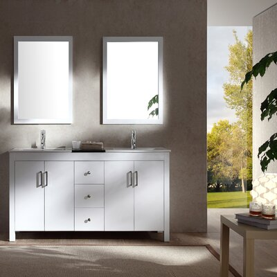 Hanson 60 Double Bathroom Vanity Set with Mirror Base Finish: White