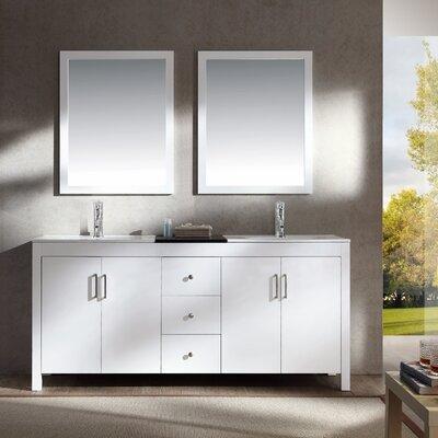Hanson 72 Double Bathroom Vanity Set with Mirror Base Finish: White
