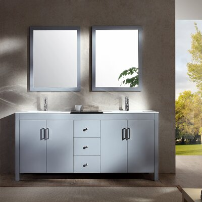 Ruhl 73 Double Bathroom Vanity Set with Mirror Base Finish: Grey