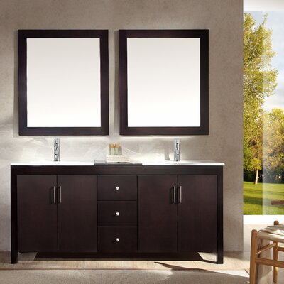 Ruhl 73 Double Bathroom Vanity Set with Mirror Base Finish: Espresso