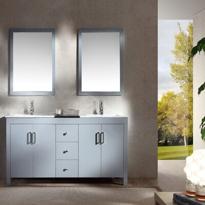 Ruhl 60 Double Bathroom Vanity Set with Mirror Base Finish: Grey