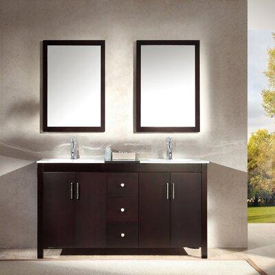 Ruhl 60 Double Bathroom Vanity Set with Mirror Base Finish: Espresso