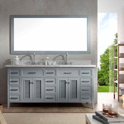 Hamil 73 Double Bathroom Vanity Set with Mirror Base Finish: Grey