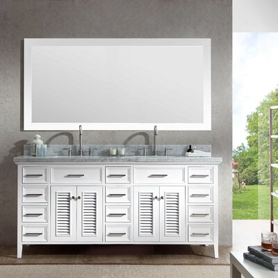 Brewster 73 Double Bathroom Vanity Set with Mirror Base Finish: White