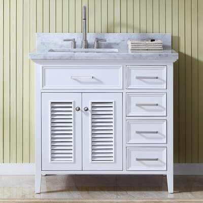 Brewster Left Offset 37 Single Bathroom Vanity with Mirror