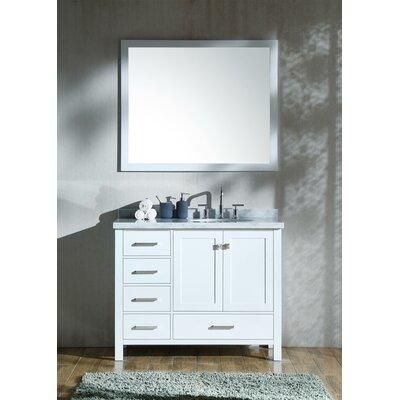 Marine Modern 43 Single Bathroom Vanity Set with Mirror Base Finish: White