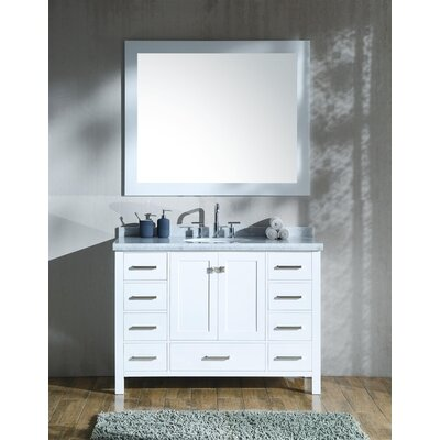 Marine 49 Single Bathroom Vanity Set with Mirror Base Finish: White