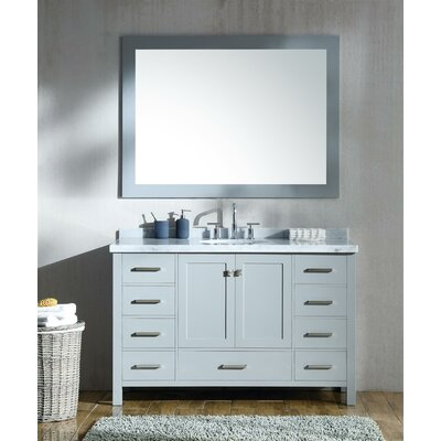 Marine 55 Single Bathroom Vanity Set with Mirror Base Finish: Gray