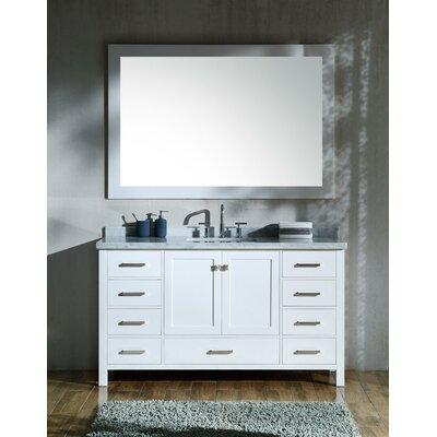 Marine 61 Single Rectangle Bathroom Vanity with Mirror Base Finish: White