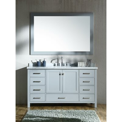 Marine 61 Single Rectangle Bathroom Vanity with Mirror Base Finish: Gray