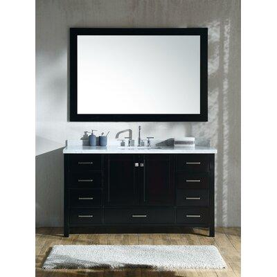 Marine 61 Single Rectangle Bathroom Vanity with Mirror Base Finish: Espresso