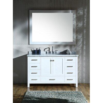 Marine 55 Single Rectangle Bathroom Vanity with Mirror Base Finish: White