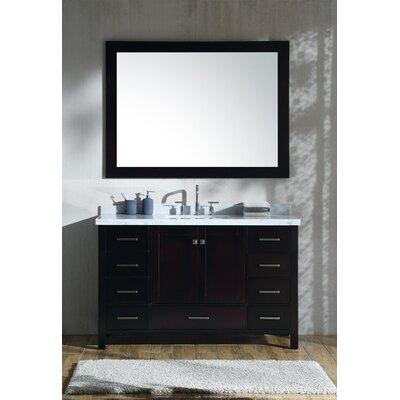 Marine 55 Single Rectangle Bathroom Vanity with Mirror Base Finish: Espresso