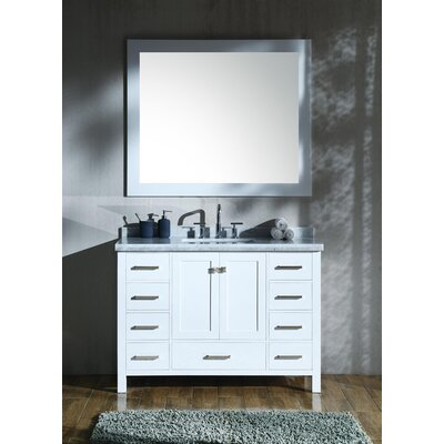 Marine 49 Single Rectangle Bathroom Vanity with Mirror Base Finish: White
