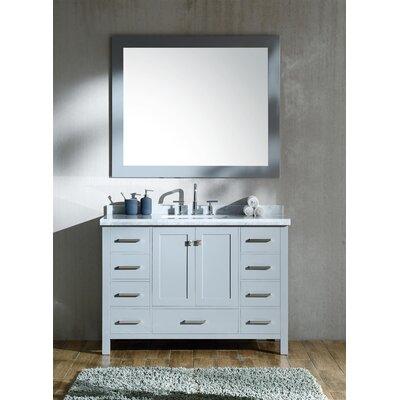 Marine 49 Single Rectangle Bathroom Vanity with Mirror Base Finish: Gray