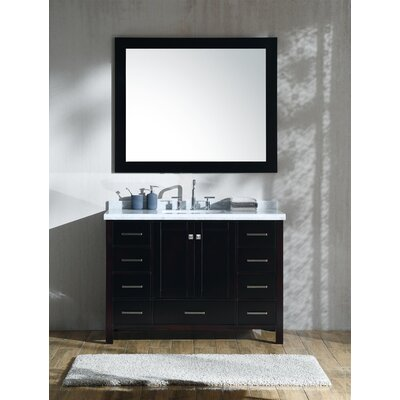 Marine 49 Single Rectangle Bathroom Vanity with Mirror Base Finish: Espresso