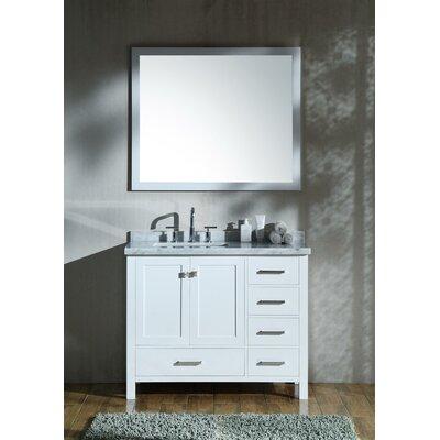 Marine 43 Single Bathroom Vanity with Mirror Base Finish: White