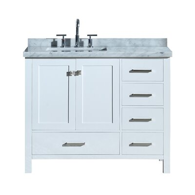 Utley 43 Wood Base Single Bathroom Vanity Set Base Finish: White